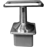Stainless steel square terminal post to radius top rail mount with standoff for level surfaces.